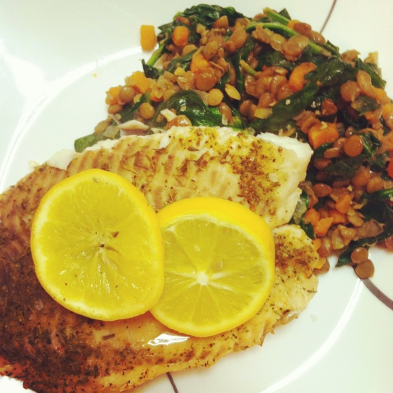 Lemon Baked Tilapia with Spinach & Carrot Lentils