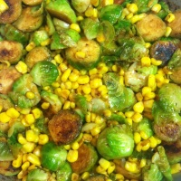 Lemony Brussel Sprouts & Corn