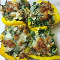 Goat Cheese, Sausage, and Arugula Stuffed Peppers