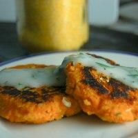 Sweet Potato Cakes with Garlic Dipping Sauce