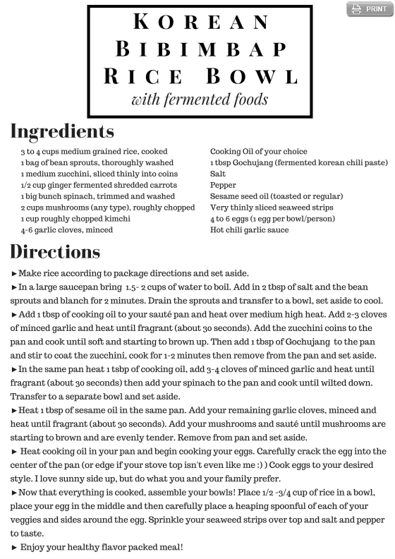 Fermented Food Bipimbap Recipe