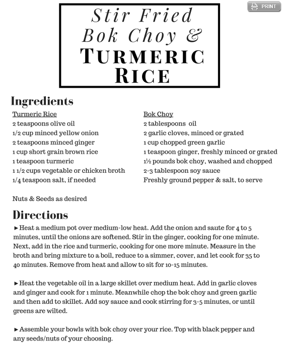 Bok Choy Stir Fry with Turmeric Rice Recipe