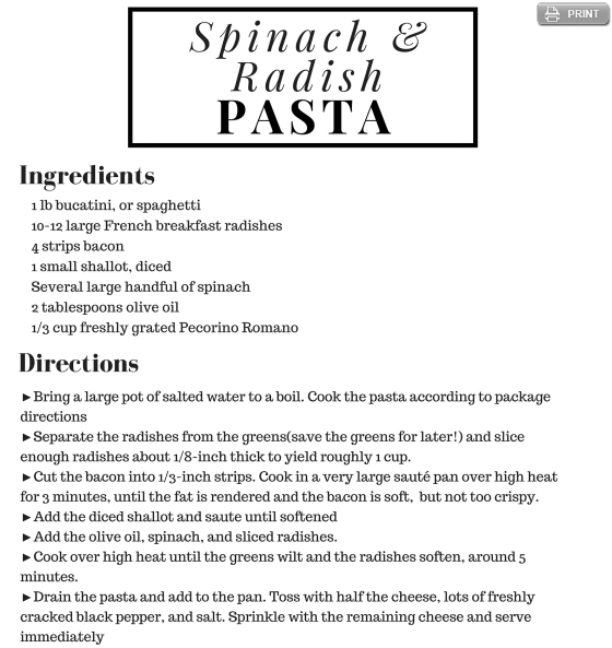 Radish & Spinach Pasta Recipe