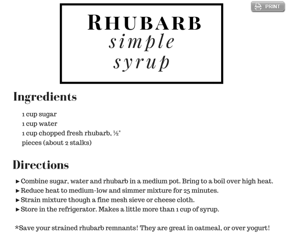 Rhubarb Simple Syrup Recipe