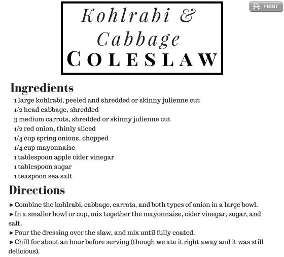 Kohlrabi Cabbage Coleslaw