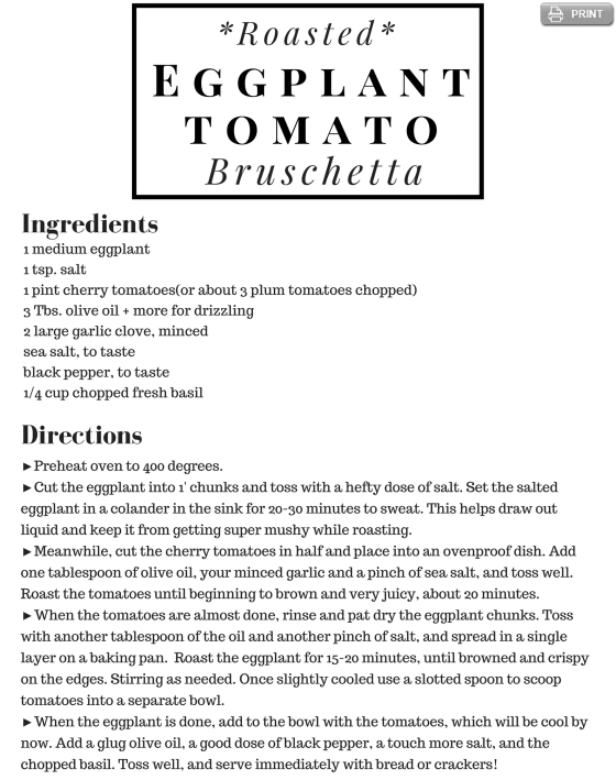 Roasted Eggplant & Cherry Tomato Bruschetta CSA Recipe